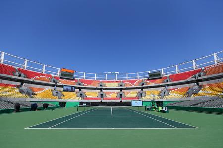 olympic symbol: RIO DE JANEIRO, BRAZIL - AUGUST 5, 2016: Main tennis venue Maria Esther Bueno Court  of the Rio 2016 Olympic Games at the Olympic Tennis Centre