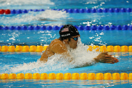 medley: RIO DE JANEIRO, BRAZIL - AUGUST 13, 2016:Olympic champion Cody Miller of United States competes at the Mens 4x100m medley relay of the Rio 2016 Olympic Games at the Olympic Aquatics Stadium