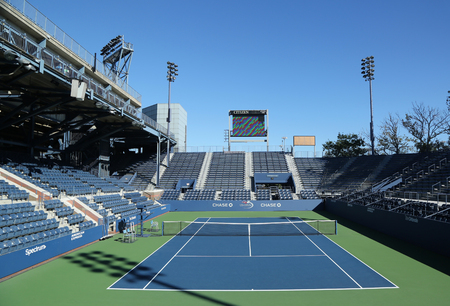 NEW YORK - AUGUST 22, 2016: Grandstand Stadium at the Billie Jean King National Tennis Center ready for US Open tournament in Flushing, NY Editorial