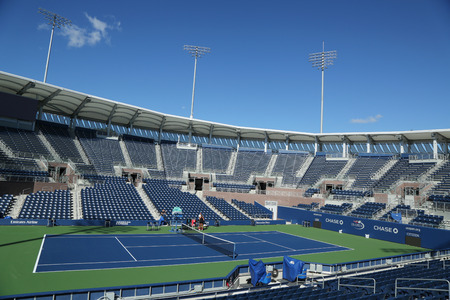 flushing: NEW YORK - AUGUST 22, 2016: Newly constructed Grandstand Stadium at the Billie Jean King National Tennis Center ready for US Open tournament in Flushing, NY