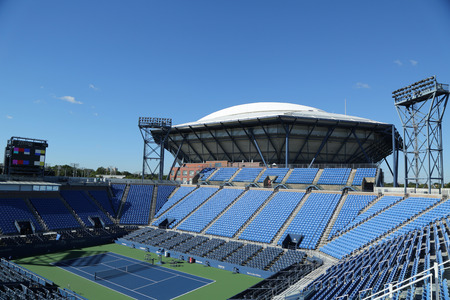 flushing: NEW YORK - AUGUST 22, 2016: Louis Armstrong Stadium at the Billie Jean King National Tennis Center ready for US Open tournament in Flushing, NY Editorial