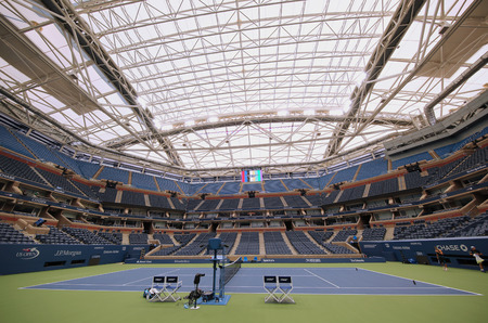 flushing: NEW YORK - AUGUST 22, 2016: Newly Improved Arthur Ashe Stadium with retractable roof at the Billie Jean King National Tennis Center ready for US Open tournament in Flushing, NY