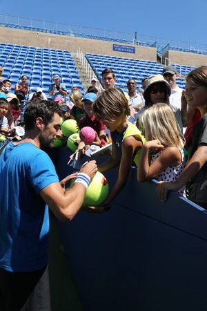 NEW YORK - AUGUST 23, 2016: Professional tennis player Jeremy Chardy of France signing autographs after practice for US Open 2016 at Billie Jean King National Tennis Center