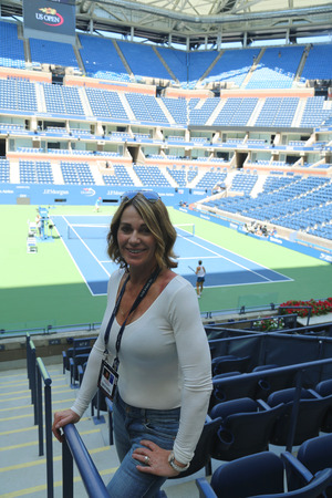 grand slam: NEW YORK - AUGUST 28, 2016: World famous gymnast Nadia Comaneci of Romania visits Billie Jean King National Tennis Center during US Open 2016 Editorial
