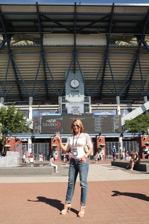 grand slam: NEW YORK - AUGUST 30, 2016: World famous gymnast Nadia Comaneci of Romania visits Billie Jean King National Tennis Center during US Open 2016