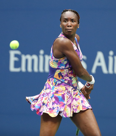 NEW YORK - AUGUST 30, 2016: Grand Slam champion Venus Williams in action during her first round match at US Open 2016 at Billie Jean King National Tennis Center in New York Editorial