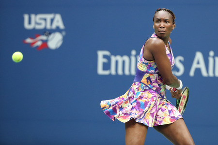 billie: NEW YORK - AUGUST 30, 2016: Grand Slam champion Venus Williams in action during her first round match at US Open 2016 at Billie Jean King National Tennis Center in New York Editorial