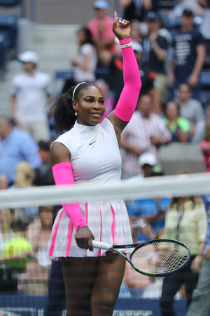 grand hard: NEW YORK - SEPTEMBER 5, 2016: Grand Slam champion Serena Williams of United States celebrates victory after her round four match at US Open 2016 at Billie Jean King National Tennis Center in New York Editorial