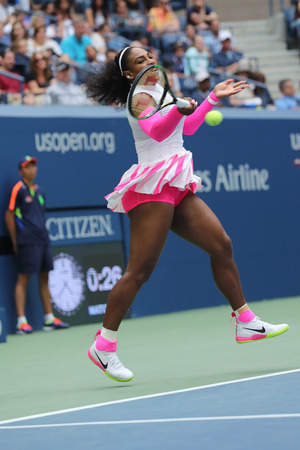 racket stadium: NEW YORK - SEPTEMBER 5, 2016: Grand Slam champion Serena Williams of United States in action during her round four match at US Open 2016 at Billie Jean King National Tennis Center in New York Editorial