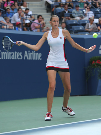billie: NEW YORK - SEPTEMBER 5, 2016:Professional tennis player Karolina Pliskova of Czech Republic in action during her round four match at US Open 2016 at Billie Jean King National Tennis Center in NY