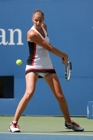 grand hard: NEW YORK - SEPTEMBER 5, 2016:Professional tennis player Karolina Pliskova of Czech Republic in action during her round four match at US Open 2016 at Billie Jean King National Tennis Center in NY