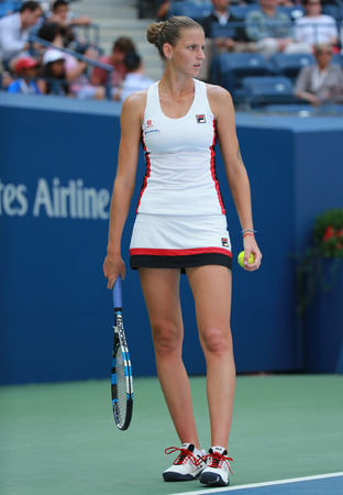 NEW YORK - SEPTEMBER 5, 2016:Professional tennis player Karolina Pliskova of Czech Republic in action during her round four match at US Open 2016 at Billie Jean King National Tennis Center in NY