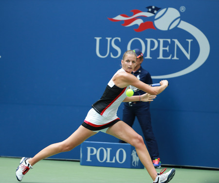 racket stadium: NEW YORK - SEPTEMBER 5, 2016:Professional tennis player Karolina Pliskova of Czech Republic in action during her round four match at US Open 2016 at Billie Jean King National Tennis Center in NY