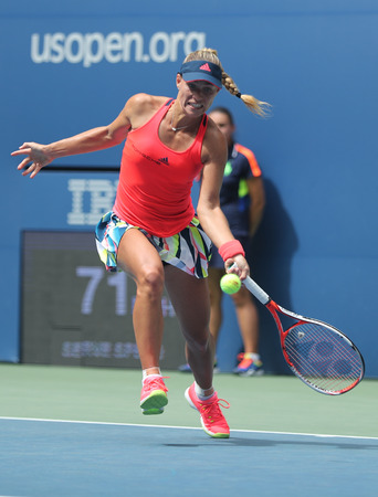 billie: NEW YORK - SEPTEMBER 5, 2016: Grand Slam champion Angelique Kerber of Germany in action during her round four match at US Open 2016 at Billie Jean King National Tennis Center in New York