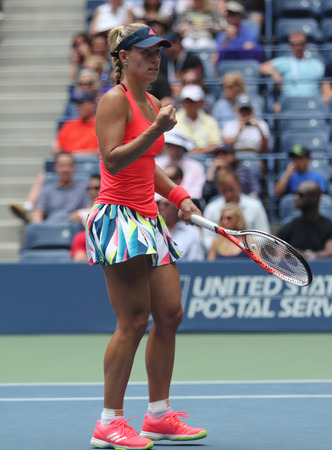 NEW YORK - SEPTEMBER 5, 2016: Grand Slam champion Angelique Kerber of Germany celebrates victory after her round four match at US Open 2016 at Billie Jean King National Tennis Center in New York