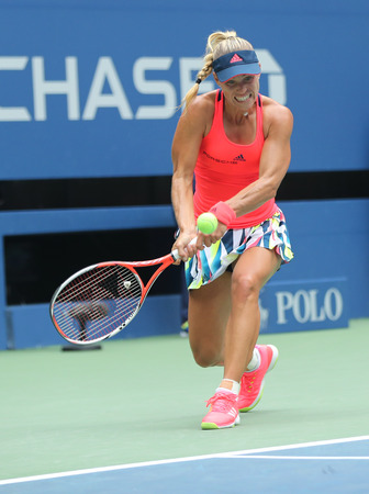 NEW YORK - SEPTEMBER 5, 2016: Grand Slam champion Angelique Kerber of Germany in action during her round four match at US Open 2016 at Billie Jean King National Tennis Center in New York