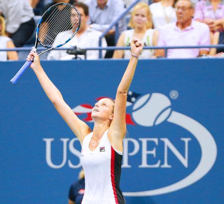 grand hard: NEW YORK - SEPTEMBER 8, 2016: Professional tennis player Karolina Pliskova of Czech Republic celebrates victory after her semifinal match at US Open 2016 at Billie Jean King National Tennis Center