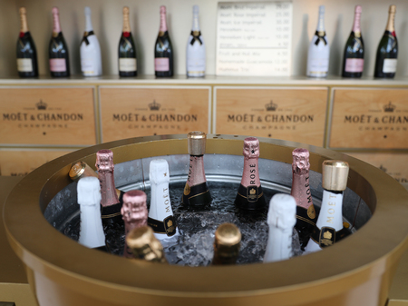 us open: NEW YORK - SEPTEMBER 6, 2016: Moet and Chandon champagne presented at the National Tennis Center during US Open 2016 in New York. Moet and Chandon is the official champagne of the US Open Editorial