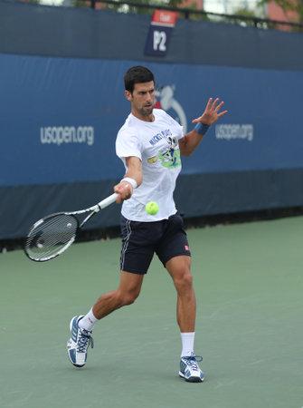 grand hard: NEW YORK- SEPTEMBER 3, 2016: Twelve times Grand Slam champion Novak Djokovic of Serbia practices for for US Open 2016 at Billie Jean King National Tennis Center in New York Editorial