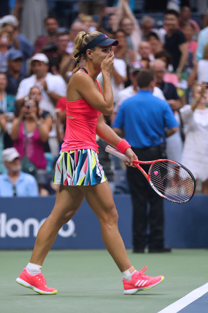 NEW YORK - SEPTEMBER 10, 2016:Two times Grand Slam champion Angelique Kerber of Germany celebrates victory after her final match at US Open 2016 at Billie Jean King National Tennis Center in New York Editorial