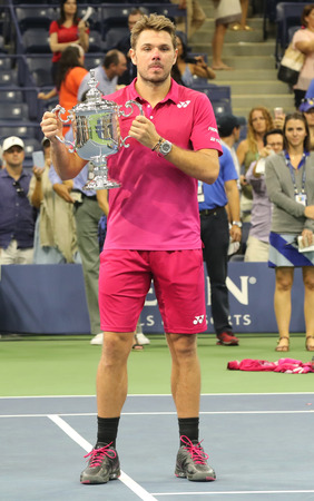 NEW YORK - SEPTEMBER 11, 2016: Three times Grand Slam champion Stanislas Wawrinka of Switzerland during trophy presentation after his victory at US Open 2016 final match at National Tennis Center