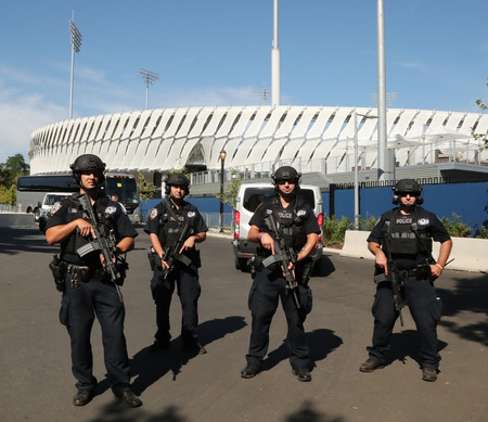 counter terrorism: NEW YORK - AUGUST 30, 2016: NYPD counter terrorism officers providing security at National Tennis Center during US Open 2016 in New York Editorial