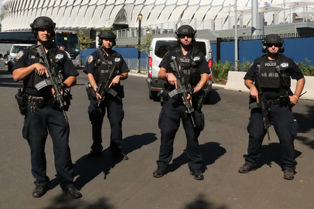 NEW YORK - AUGUST 30, 2016: NYPD counter terrorism officers providing security at National Tennis Center during US Open 2016 in New York Sajtókép