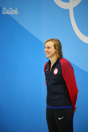 RIO DE JANEIRO, BRAZIL - AUGUST 12, 2016: Olympic champion Katie Ledecky of United States during medal ceremony after victory at the Womens 800m freestyle of the Rio 2016 Olympic Games