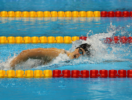 RIO DE JANEIRO, BRAZIL - AUGUST 12, 2016: Olympic champion Katie Ledecky of United States competes at the Womens 800m freestyle of the Rio 2016 Olympic Games at the Olympic Aquatics Stadium