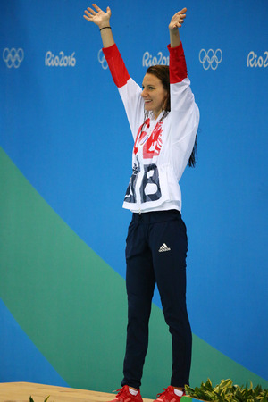 carlin: RIO DE JANEIRO, BRAZIL - AUGUST 12, 2016: Silver medalist Jazmin Carlin of Great Britain during medal ceremony after the Womens 800m freestyle competition of the Rio 2016 Olympic Games Editorial