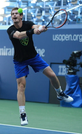 NEW YORK - AUGUST 28, 2016: Grand Slam Champion Andy Murray of Great Britain practices for US Open 2016 at Billie Jean King National Tennis Center Editorial