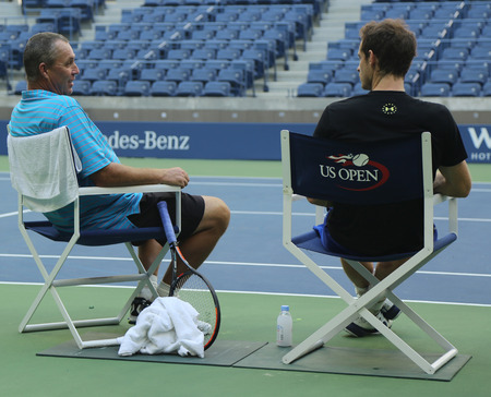 NEW YORK - AUGUST 28, 2016: Grand Slam Champion Andy Murray (R) practices with his coach Grand Slam Champion Ivan Lendl for US Open 2016 at Billie Jean King National Tennis Center