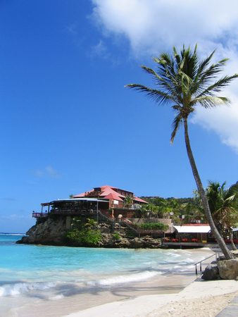 ST BARTS,FRENCH WEST INDIES - JANUARY 15, 2015: The beautiful Eden Rock hotel  at St Barts, French West Indies.Eden Rock St Barts is one of the Top 100 hotels in the world Editorial