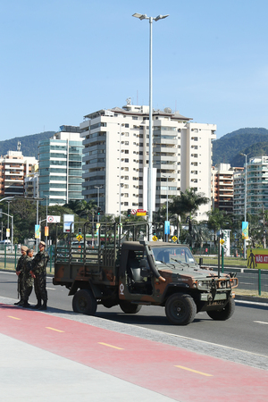 olympic national park: RIO DE JANEIRO, BRAZIL - AUGUST 7, 2016: Brazilian army forces provide security during Rio 2016 Olympic Games near Olympic Park in Rio de Janeiro