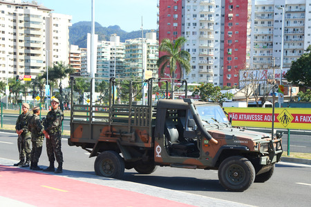 law of brazil: RIO DE JANEIRO, BRAZIL - AUGUST 7, 2016: Brazilian army forces provide security during Rio 2016 Olympic Games near Olympic Park in Rio de Janeiro