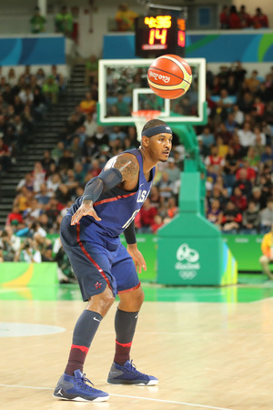 janeiro: RIO DE JANEIRO, BRAZIL - AUGUST 10, 2016: Olympic champion Carmelo Anthony of Team USA in action at group A basketball match between Team USA and Australia of the Rio 2016 Olympic Games