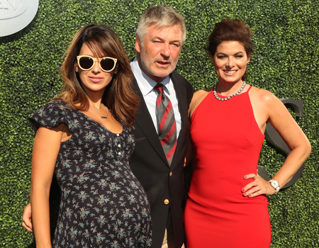 messing: NEW YORK - AUGUST 29, 2016: Hilaria Thomas (L), Emmy Award winners Alec Baldwin and Debra Messing attend US Open 2016 opening ceremony at USTA Billie Jean King National Tennis Center in New York