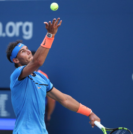 grand hard: NEW YORK - AUGUST 29, 2016: Grand Slam champion Rafael Nadal of Spain in action during US Open 2016 first round match at Billie Jean King National Tennis Center