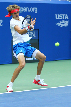 racket stadium: NEW YORK - AUGUST 27, 2016:Professional tennis player Alexander Zverev of Germany practices for US Open 2016 at Billie Jean King National Tennis Center in New York Editorial