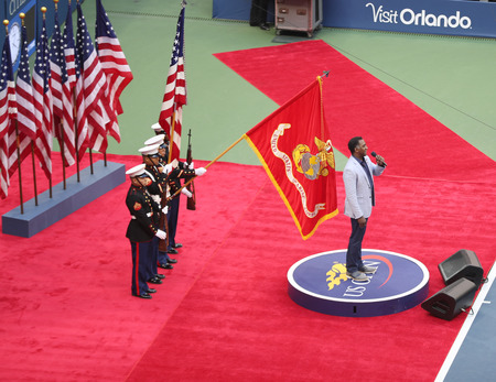 nominated: NEW YORK- SEPTEMBER 11, 2016: Tony Award nominated American singer Norm Lewis performing National Anthem during the opening ceremony of the US Open 2016 mens final at Arthur Ashe Stadium in New York Editorial