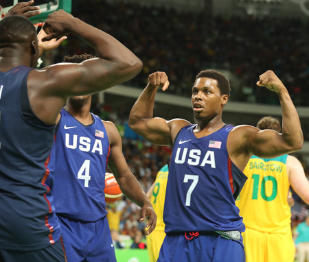 lowry: RIO DE JANEIRO, BRAZIL - AUGUST 10, 2016: Kyle Lowry of team United States in action during group A basketball match between Team USA and Australia of the Rio 2016 Olympic Games at Carioca Arena 1
