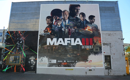 playstation: BROOKLYN, NEW YORK - OCTOBER 18, 2016: New Mafia III video game advertising in Brooklyn. Mafia III is an action-adventure video game for Microsoft Windows, macOS, PlayStation 4, and Xbox One Editorial