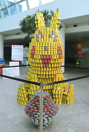UNIONDALE, NEW YORK - NOVEMBER 1, 2016: Food sculpture presented at 10th Annual Long Island Canstruction competition in Uniondale. Teams build large scale sculptures out of canned food for food drive
