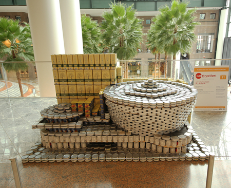 sardine: NEW YORK - NOVEMBER 3, 2016: Food sculpture presented at 24th Annual Canstruction competition in New York. Teams build sculptures out of canned food for food drive
