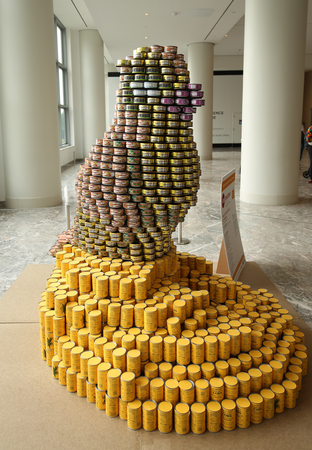 NEW YORK - NOVEMBER 3, 2016: Food sculpture presented at 24th Annual Canstruction competition in New York. Teams build sculptures out of canned food for food drive