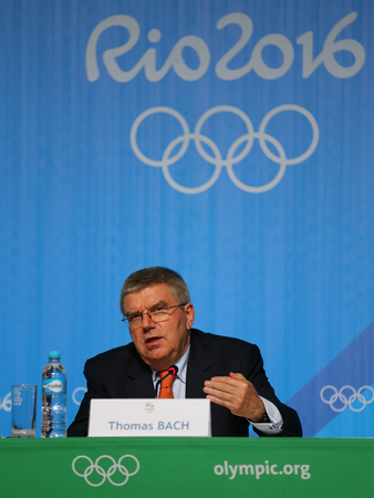 coi: RIO DE JANEIRO, BRAZIL - AUGUST 7, 2016: President of the International Olympic Committee Thomas Bach during press conference at Rio 2016 Olympic Games Press Center Editorial