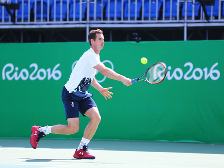 atp: RIO DE JANEIRO, BRAZIL - AUGUST 4, 2016: Olympic champion Andy Murray of Great Britain in practice for Rio 2016 Olympic Games at the Olympic Tennis Centre in Rio de Janeiro