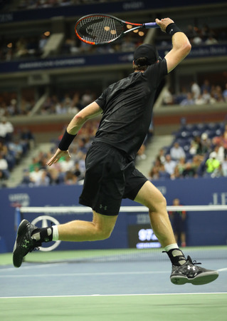 atp: NEW YORK - SEPTEMBER 5, 2016: Grand Slam Champion Andy Murray of Great Britain in action during US Open 2016 round four match at Billie Jean King National Tennis Center