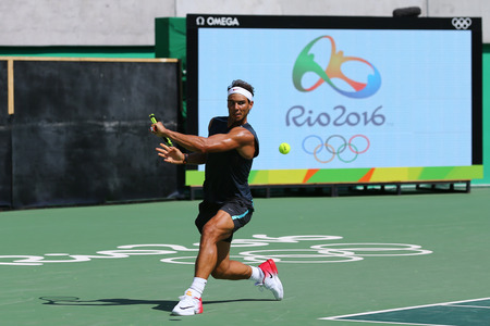 champion spain: RIO DE JANEIRO, BRAZIL - AUGUST 5, 2016: Olympic champion Rafael Nadal of Spain in practice for Rio 2016 Olympic Games at the Olympic Tennis Centre Editorial