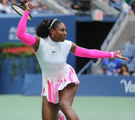 billie: NEW YORK - SEPTEMBER 5, 2016: Grand Slam champion Serena Williams of United States in action during her round four match at US Open 2016 at Billie Jean King National Tennis Center in New York Editorial